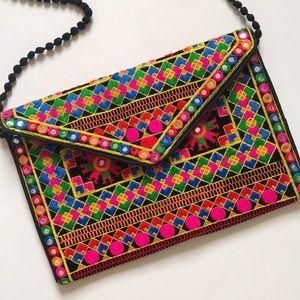 Bohemian Embroidered Purse Vibrant Boho purse EUC